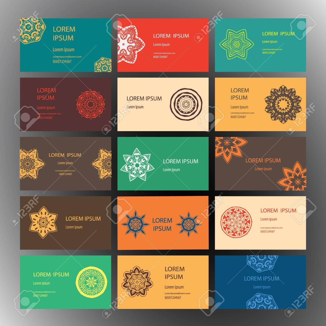 Jeu De Cartes Visite Et Dinvitation Modles Avec Ornement En Dentelle Vecteur Fond Indien Lislam Arabe Motifs Ottomans