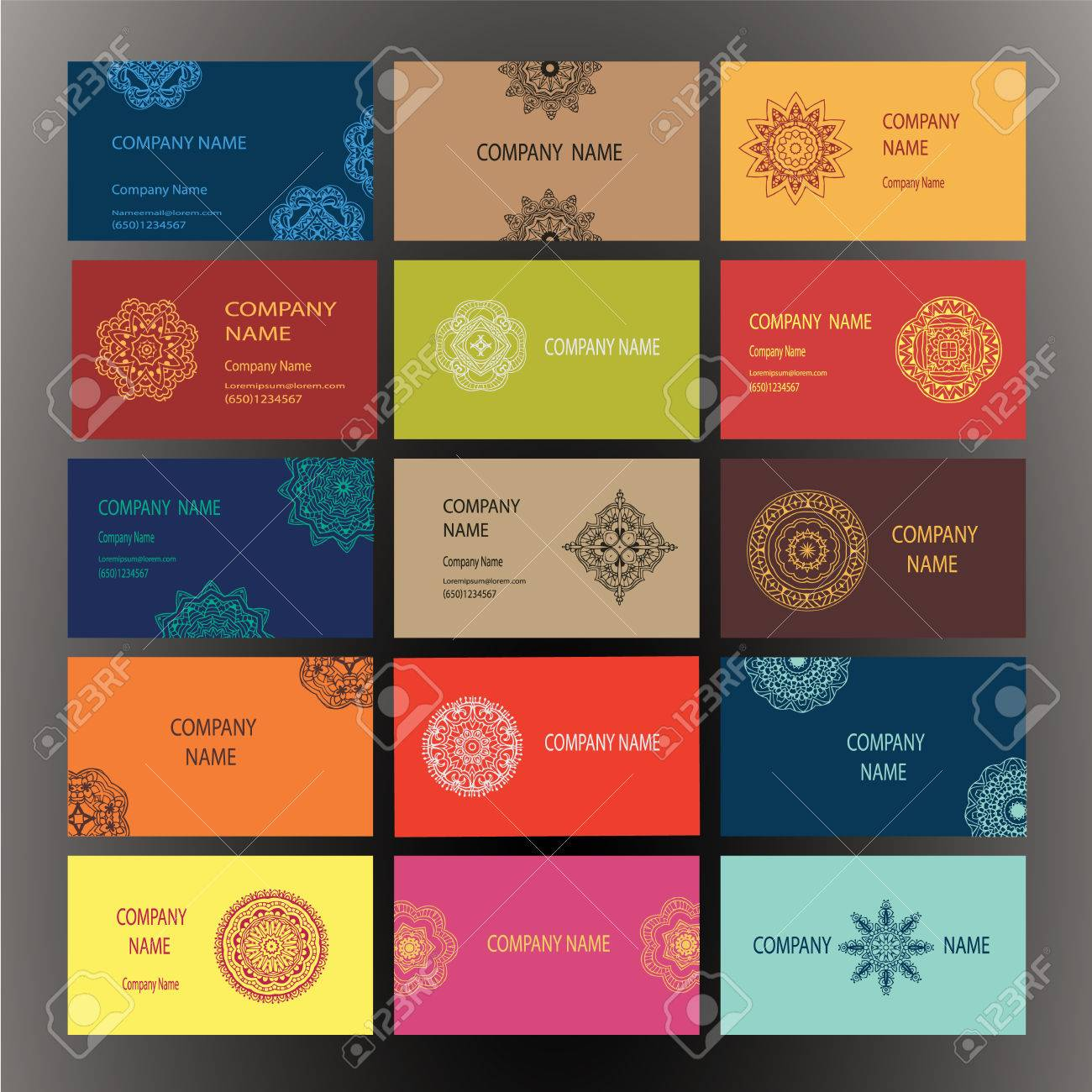 Set of business card and invitation card templates with lace set of business card and invitation card templates with lace ornament vector background indian reheart Image collections