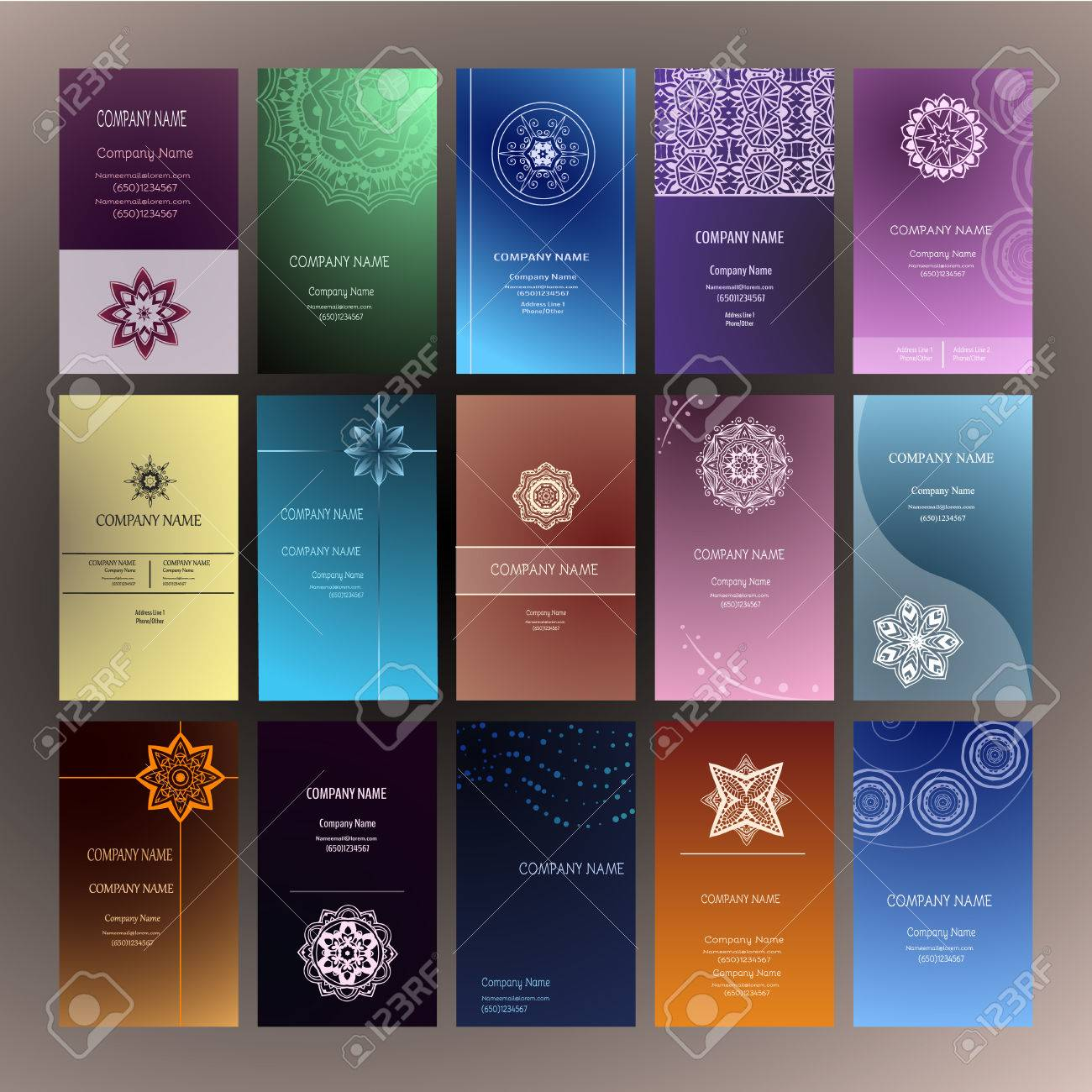 Set of business card and invitation card templates with lace set of business card and invitation card templates with lace ornament yoga center indian reheart Choice Image