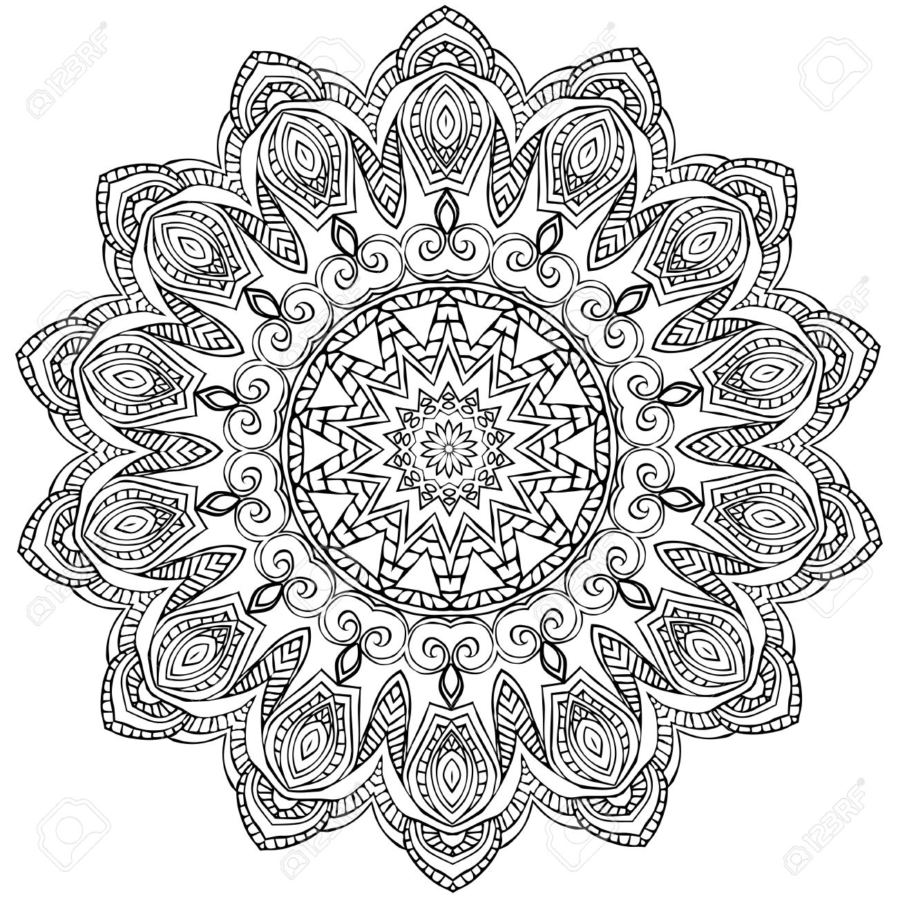 Ornament Black White Card With Mandala Geometric Circle Element Made In Vector Perfect Cards