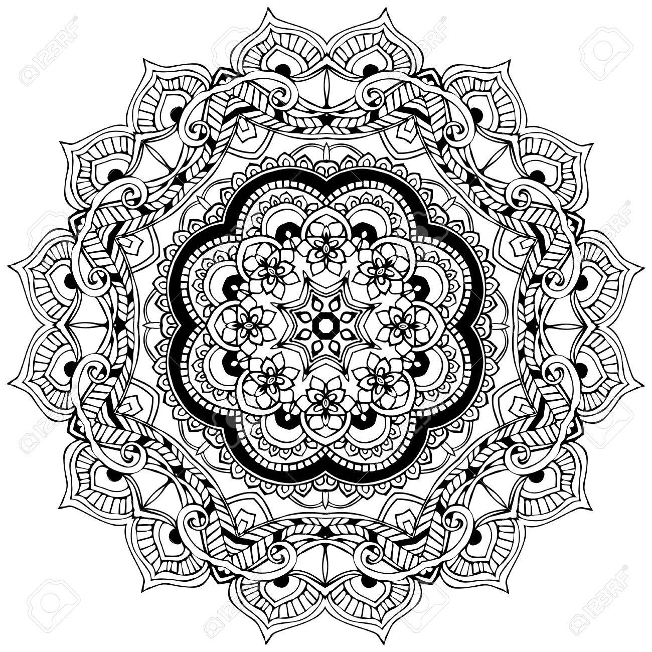 ornament black white card with mandala geometric circle element