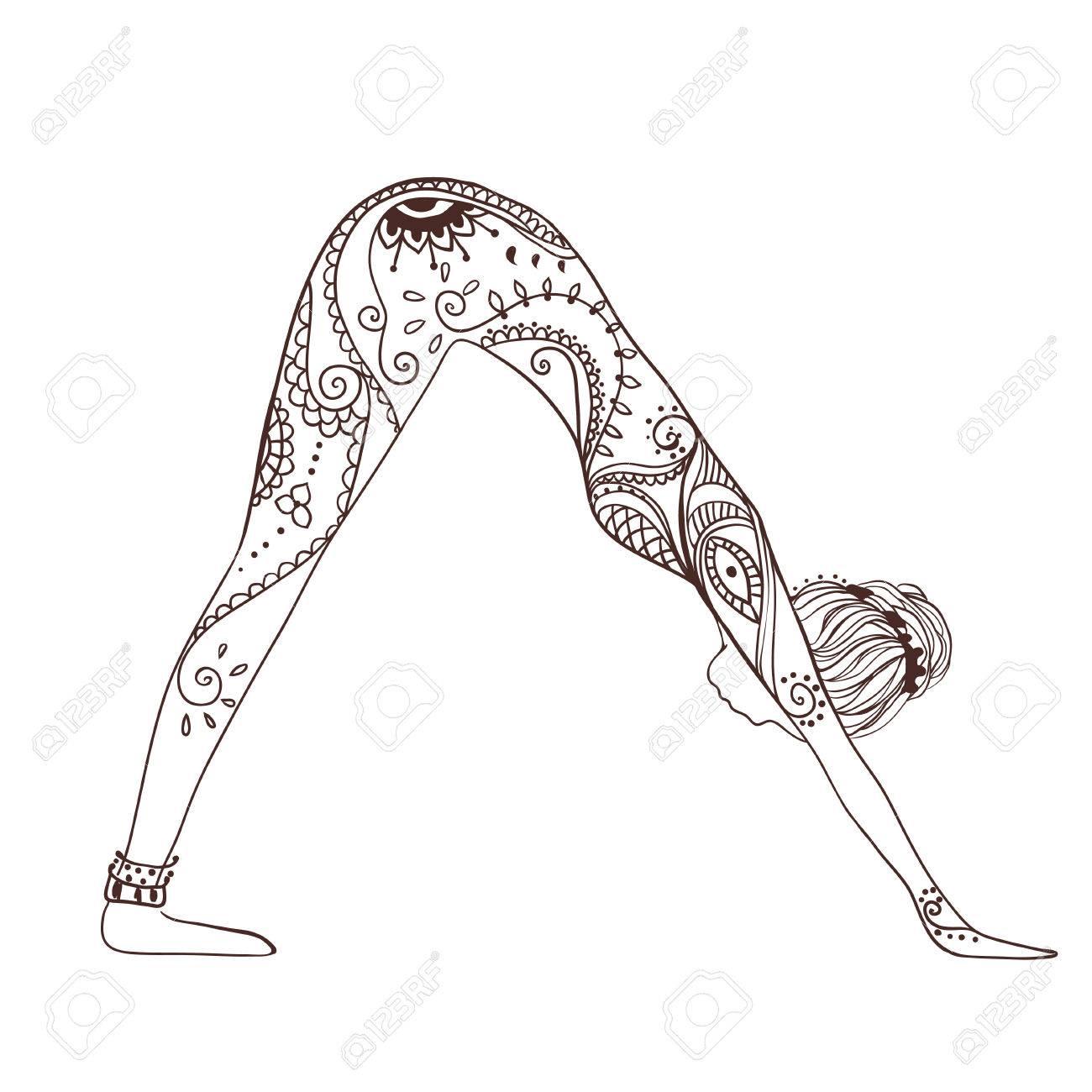 Ornament Schöne Karte Mit Yoga. Geometrisches Element Hand ...