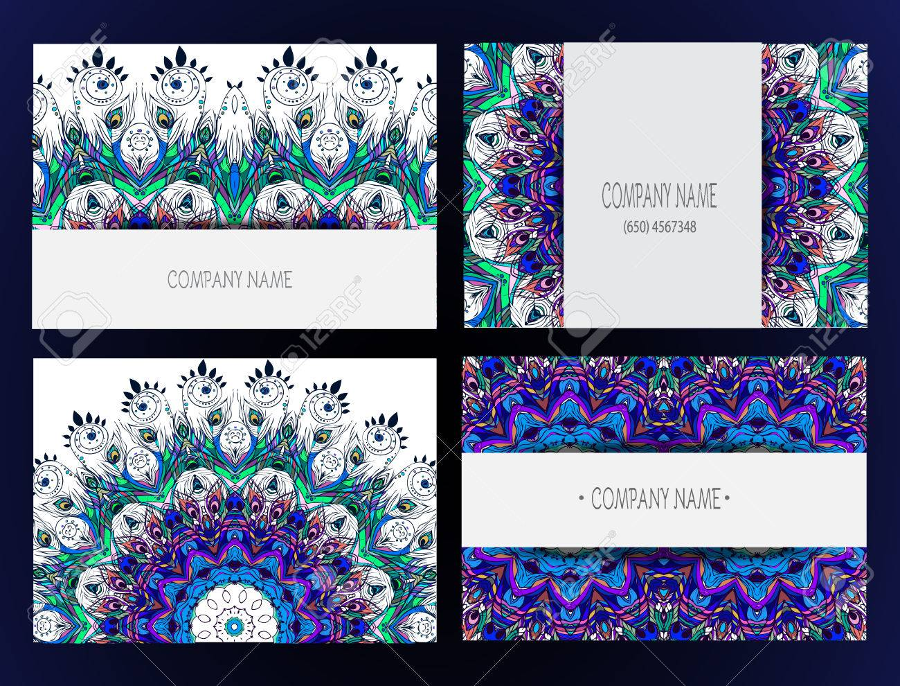Set Of Business Card And Invitation Templates With Lace