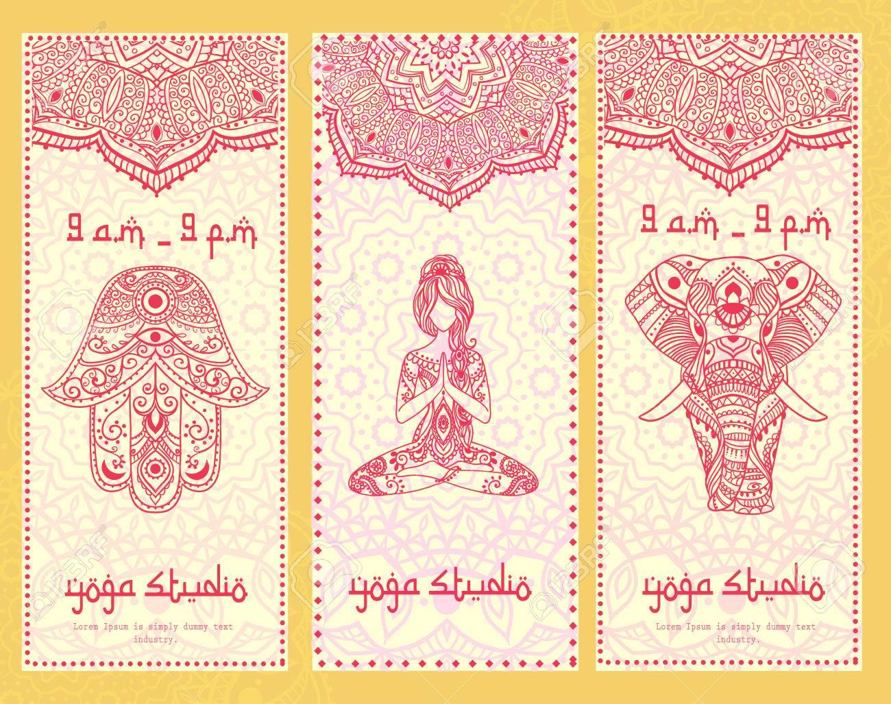 Ornament Schöne Karte Mit Fahne Yoga. Geometrisches Element Hand ...
