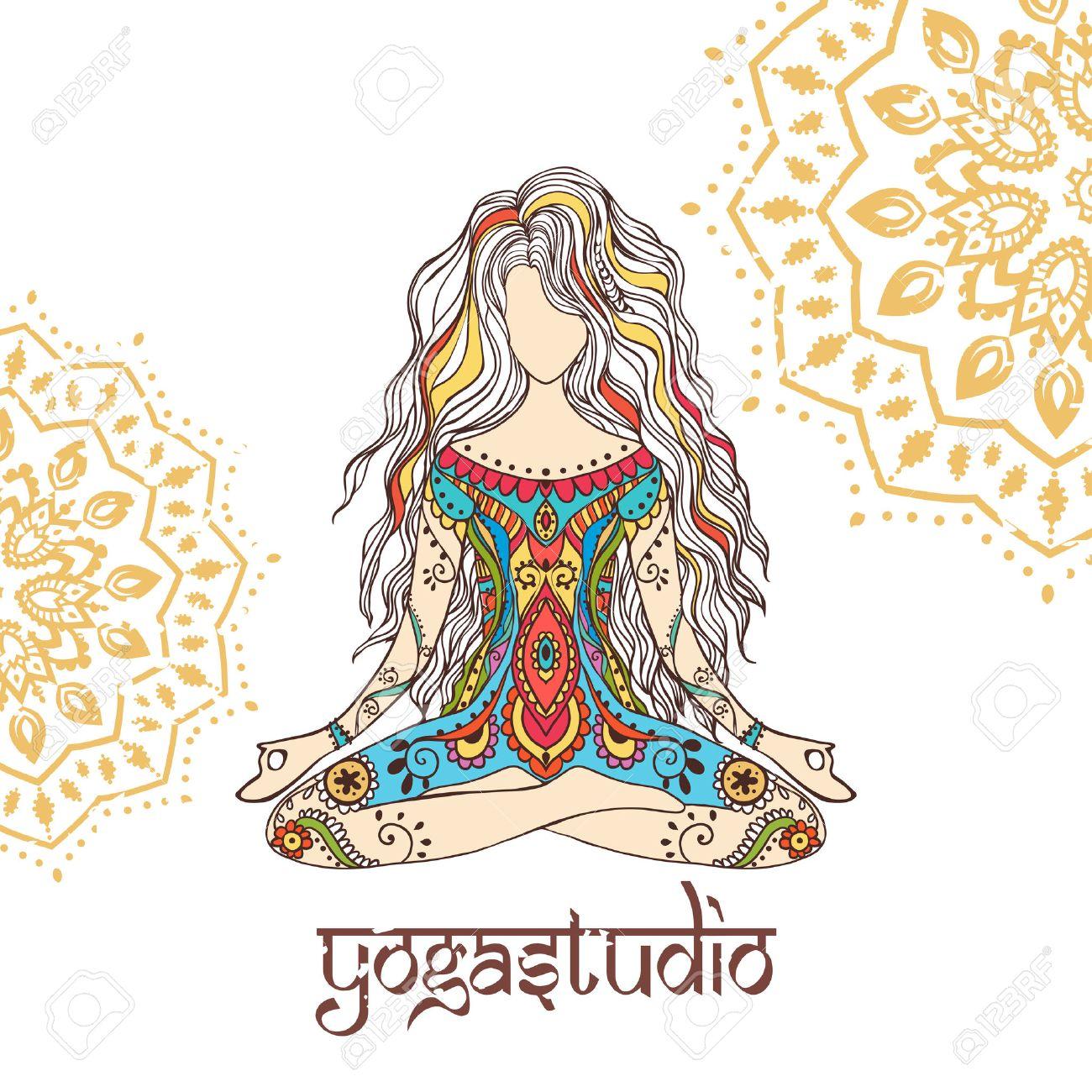 Ornement Belle Carte Avec Vector Yoga Géométrique élément Dessiné à La Main Cartes Parfaites Pour Tout Autre Type De Conception D Anniversaire Et