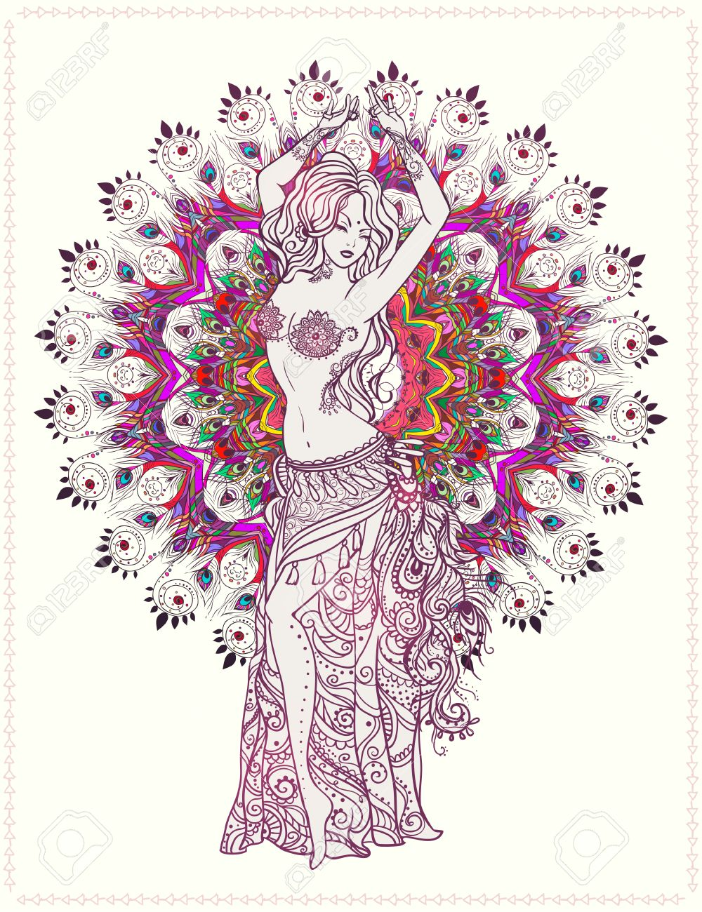 Ornament beautiful card with girl belly dance. Geometric element hand drawn. Perfect cards for any other kind of design, birthday and other holiday, kaleidoscope, medallion, yoga, india, arabic - 50213009