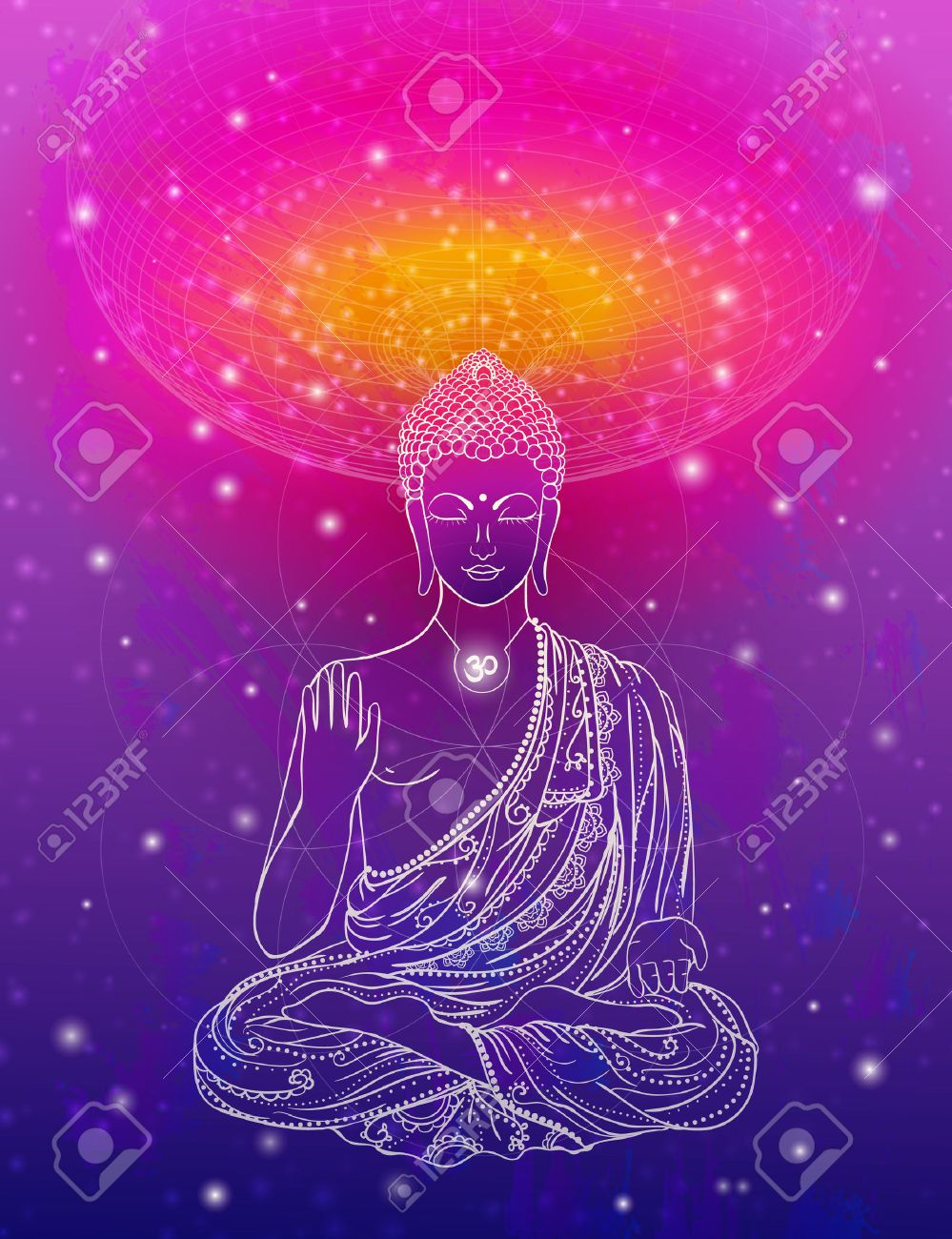 Statue of Buddha in the lotus position, meditation. Geometric element hand drawn. Psychedelic Poster in the style of 60's, 70's. Sacred Geometry. Promoted peace and love. - 50213020