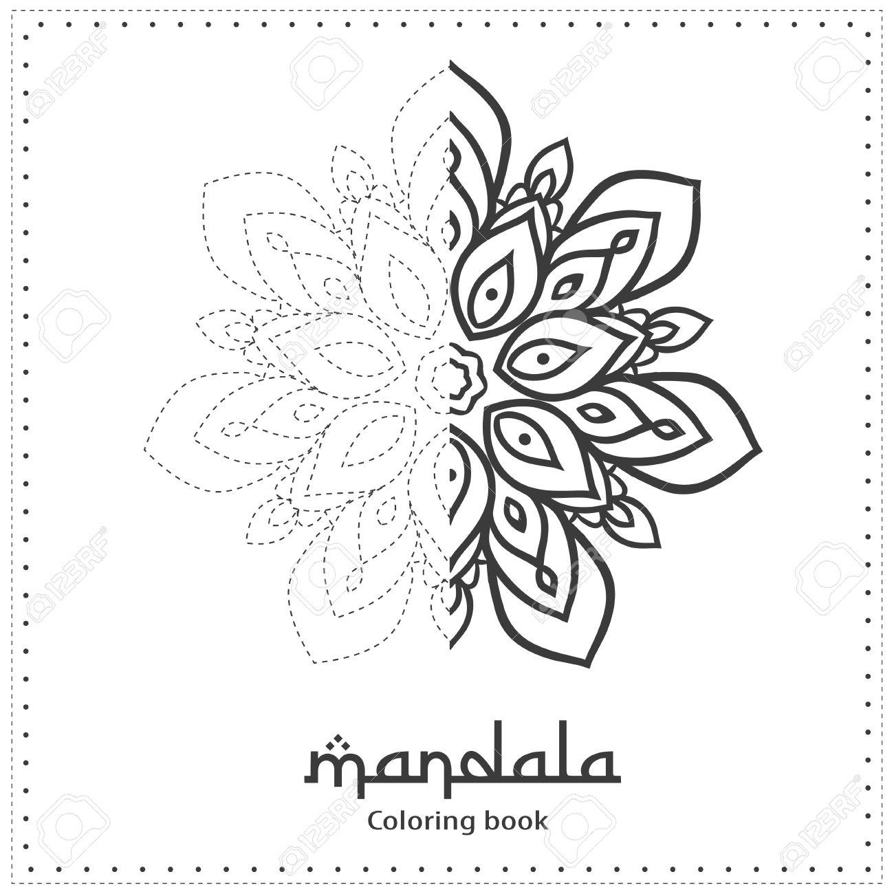 Ornamento Tarjeta Hermosa Con Mandala Páginas Para Colorear Plantilla De Puntos Tarjetas Perfectas Para Cualquier Otro Tipo De Diseño Cumpleaños Y