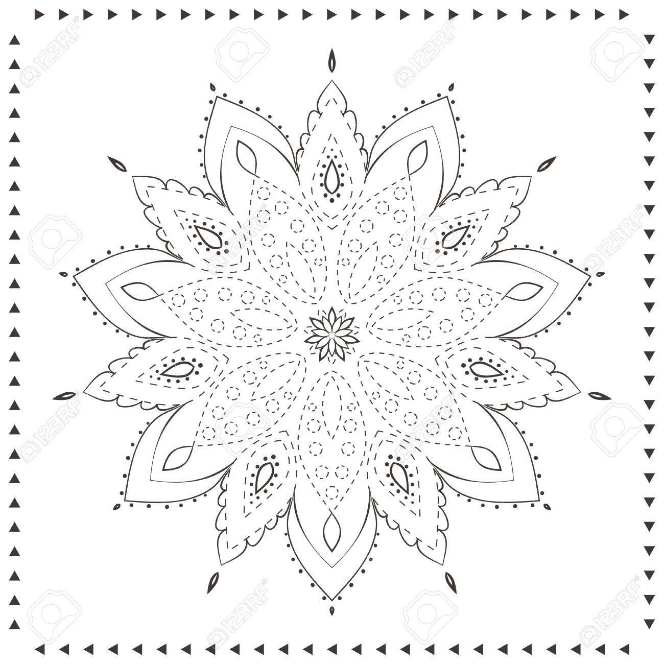 Ornament Schöne Karte Mit Mandala. Gepunktete Vorlage Malbuch Seiten ...