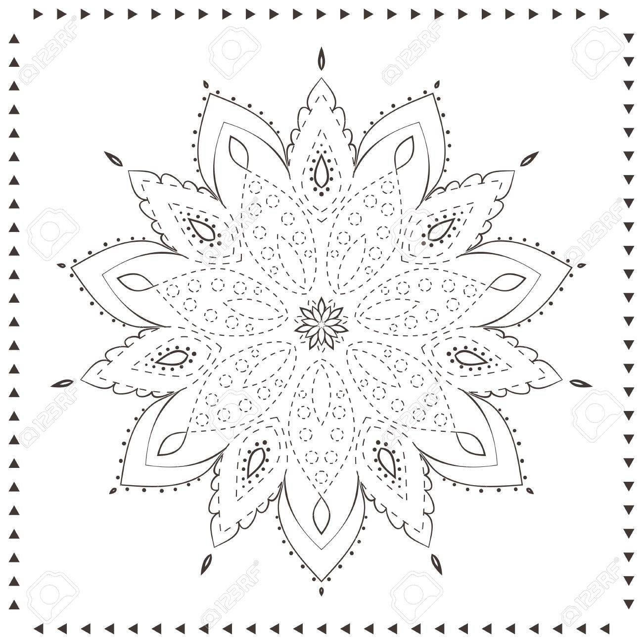 Coloriage Anniversaire Mandala.Ornement Belle Carte Avec Mandala Coloriage Modele Pointillees