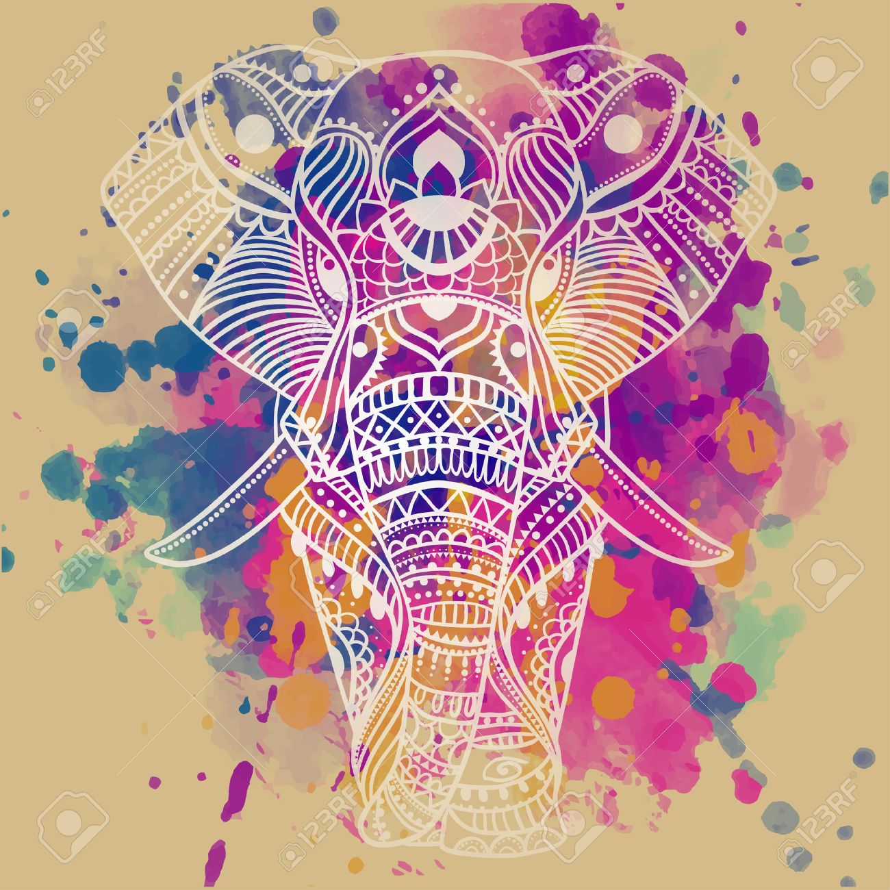 Greeting Beautiful card with Elephant. Frame of animal made in vector. Perfect cards, or for any other kind of design, birthday and other holiday.Seamless hand drawn map with Elephant. - 50314671