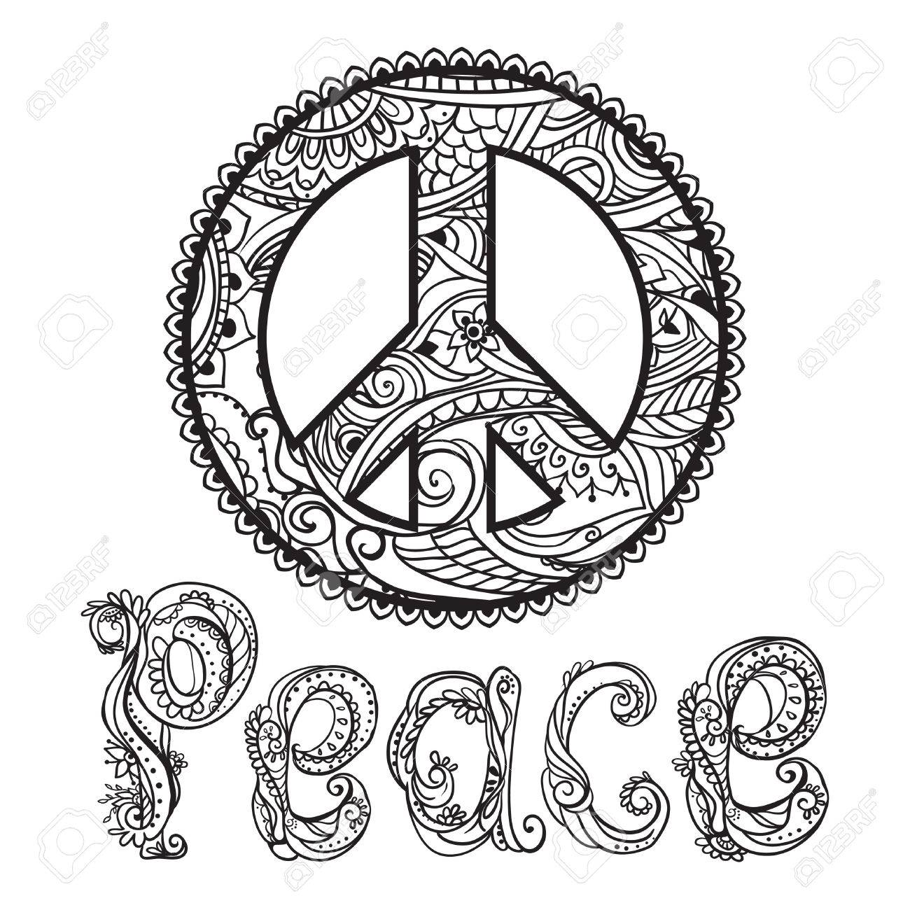 Hippie style  Ornamental retro background  Love and Music with