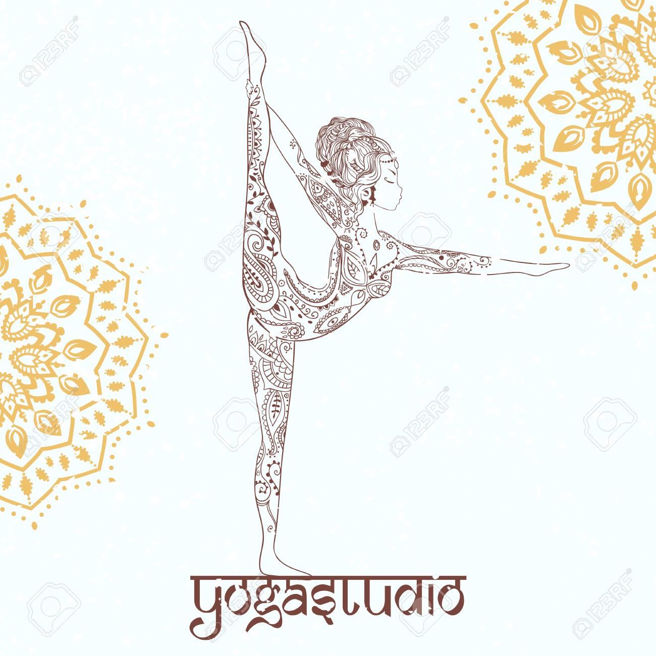 Ornement Belle Carte Avec Vecteur Yoga Elément Géométrique Dessiné à La Main Cartes Parfaites Pour Tout Autre Type De Design Anniversaire Et Autres