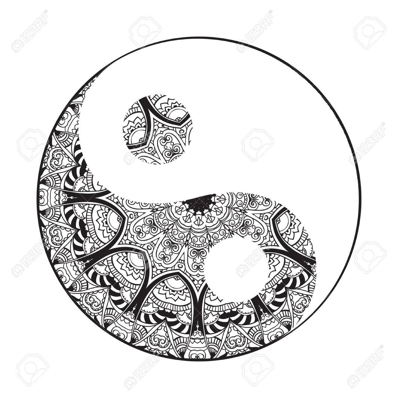 ornament card with mandala yin yang geometric circle element rh 123rf com Mandala Yin Yang Design Mandala Yin Yang Design