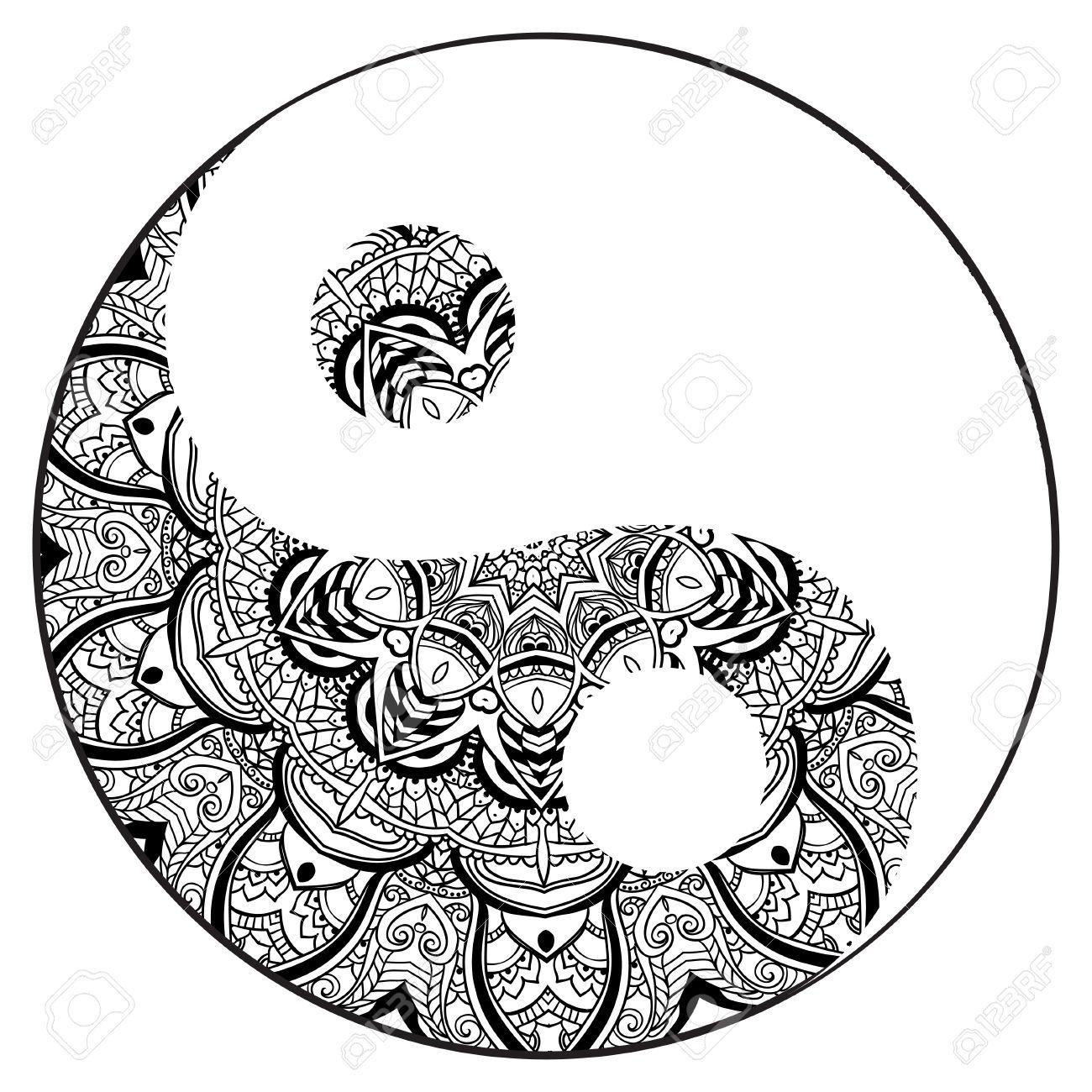 ornament card with mandala yin yang geometric circle element rh 123rf com Mandala Designs Yin Yang Mandala Painting