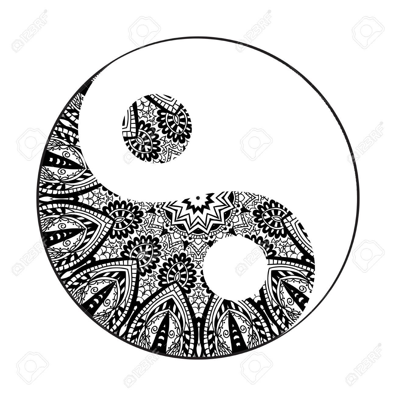 ornament card with mandala yin yang geometric circle element rh 123rf com Mandala Designs Flower Yin Yang Mandala
