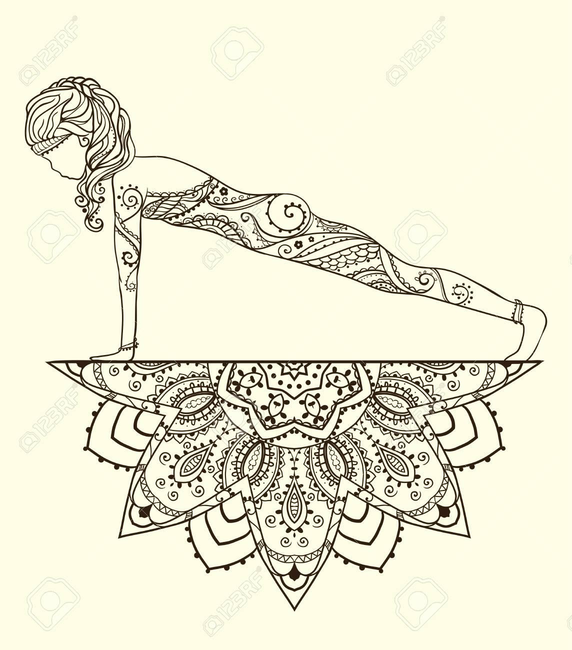 Ornament Schone Karte Mit Vector Yoga Geometrieelement Von Hand