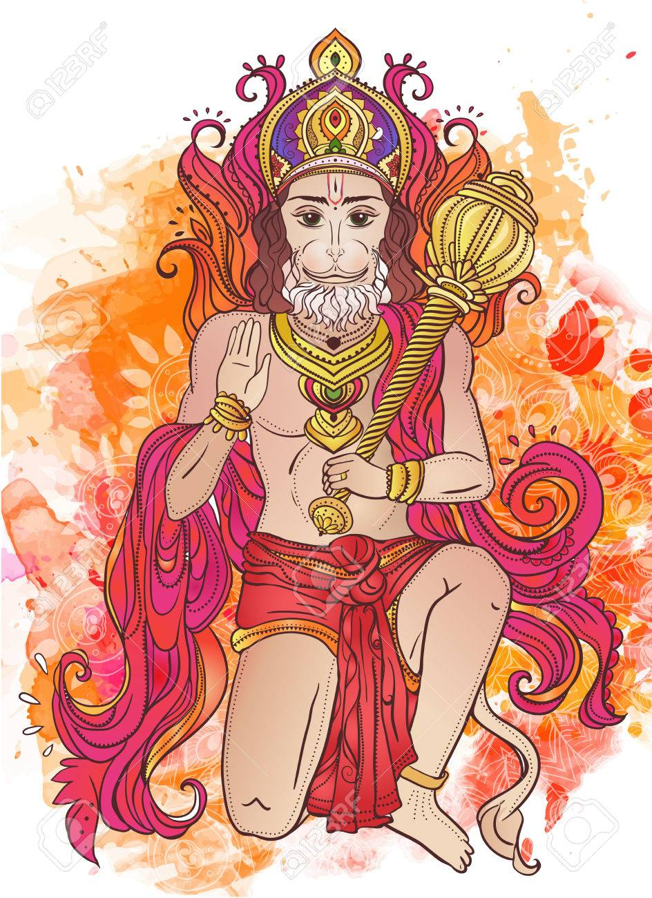 ornament card with of lord hanuman illustration of happy dussehra