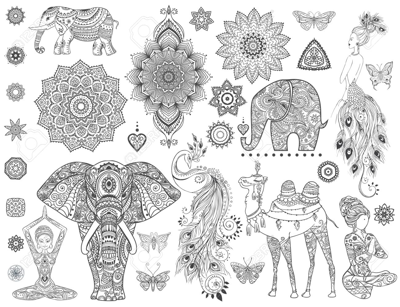 Ornamental set with animal, mandala vector. Element for design and Declaration. Stock Vector - 52197307