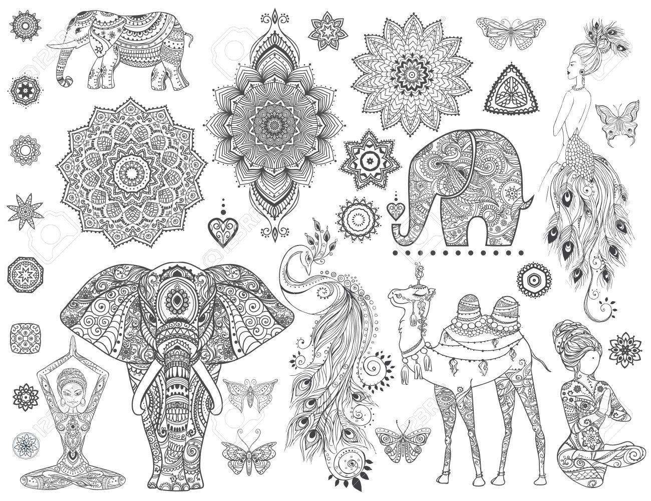 Zier Set Mit Tier, Mandala-Vektor. Element Für Den Entwurf Und Die ...