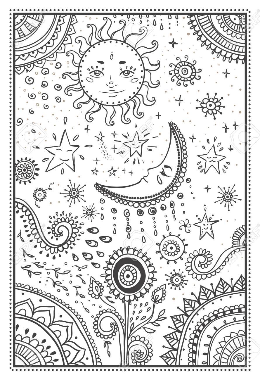 Ilustración Del Sol Y De La Luna Las Estrellas Mandala Ornamental