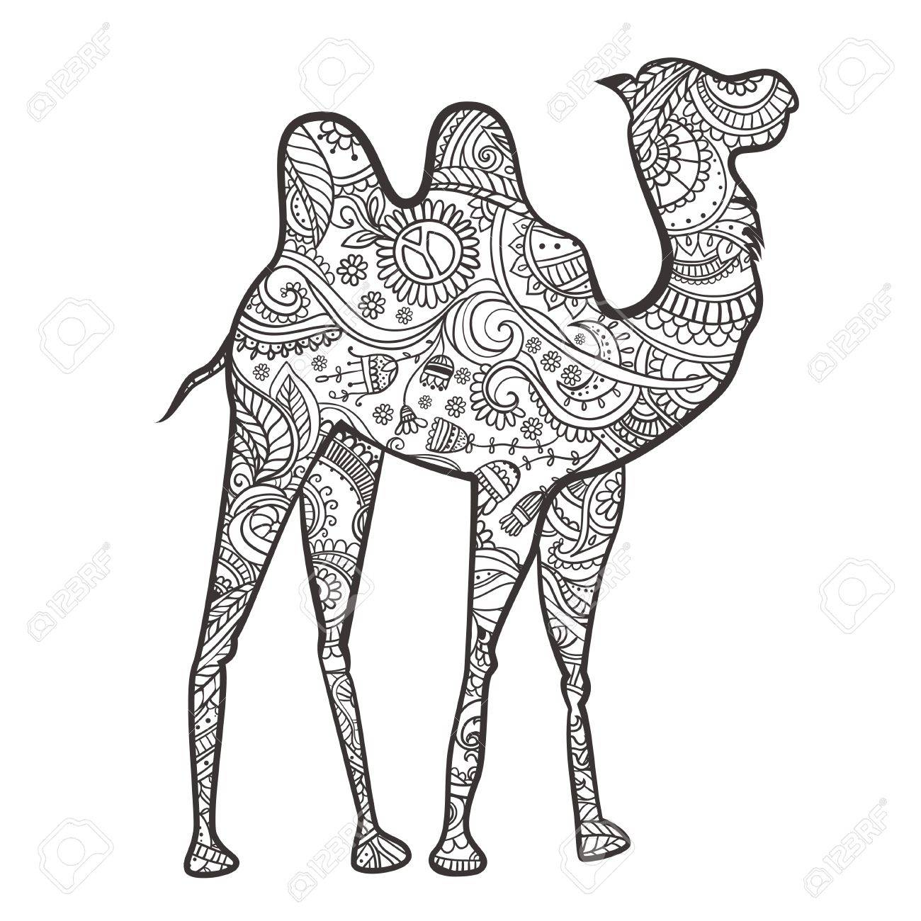 Tarjeta De Felicitación Con El Camello. Ornamental De Animales ...