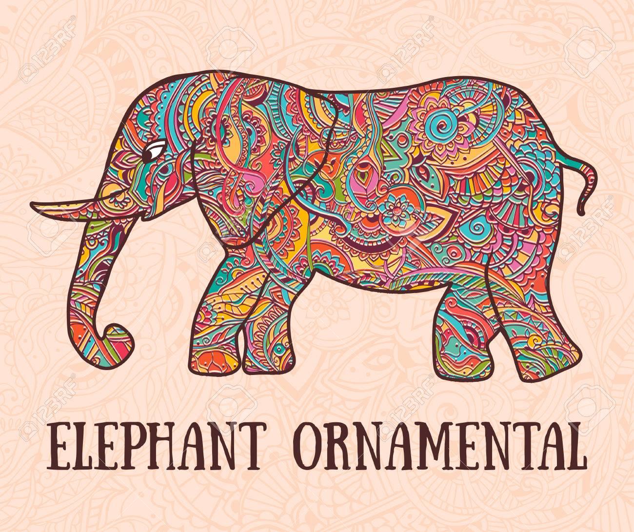 Tarjeta De Felicitación Hermosa Con El Elefante. Marco De Animales ...