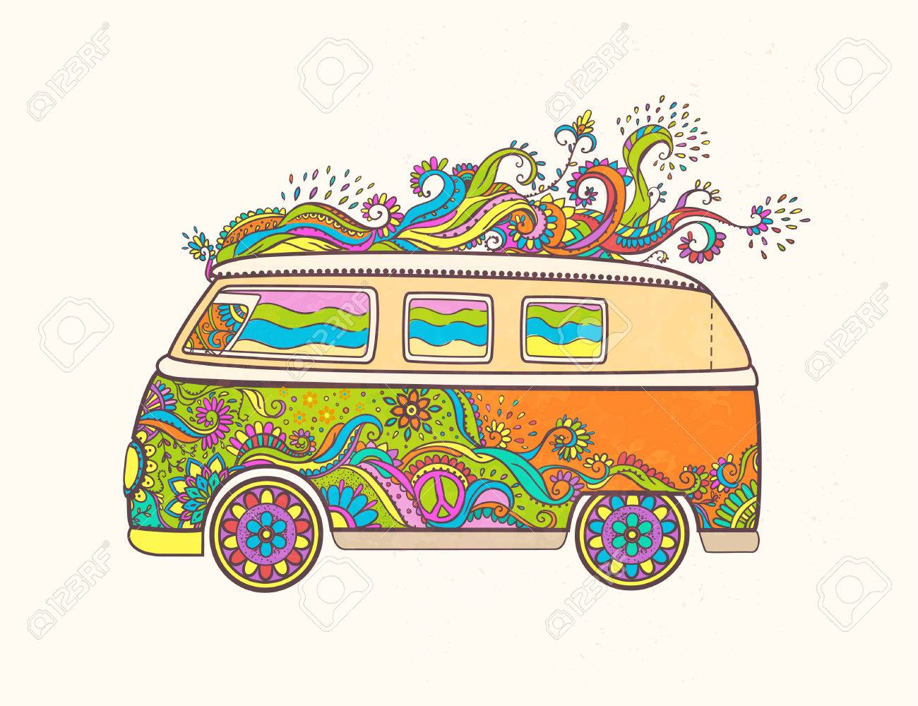 Hippie Vintage Car A Mini Van Love And Music With Hand Written Fonts