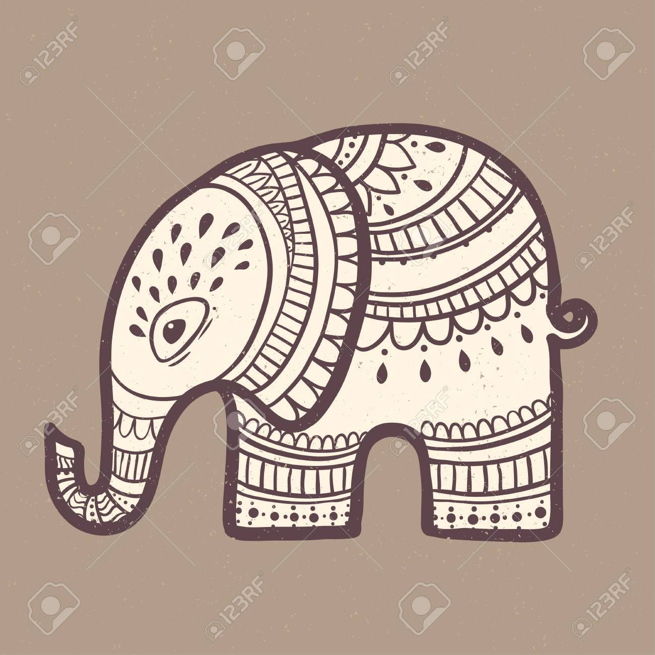 Card With Elephant. Frame Of Animal Made In Vector. Elephant ...