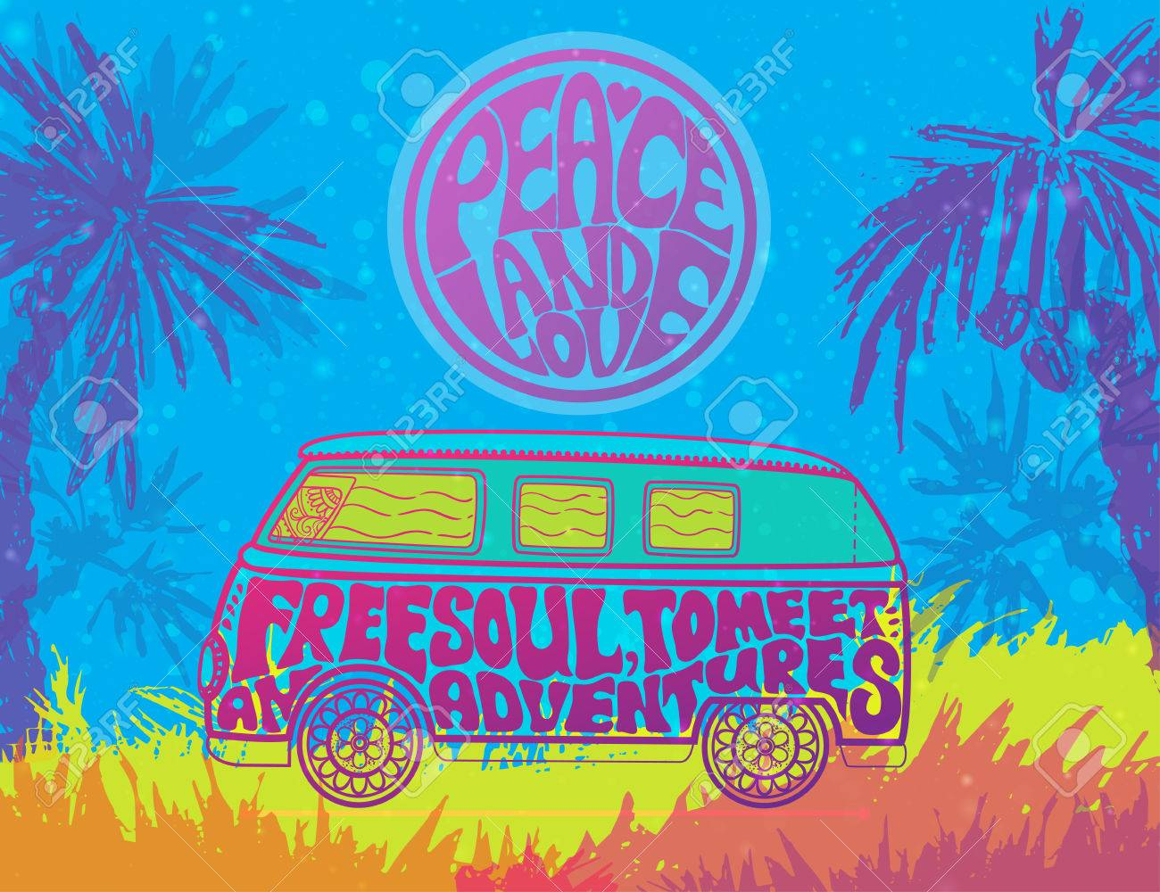 Hippie vintage car a mini van ornamental background love and hippie vintage car a mini van ornamental background love and music with hand voltagebd Choice Image