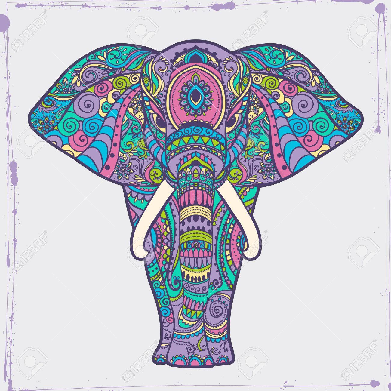 Tarjeta De Felicitación Hermosa Con El Marco De Elefante De Animales ...