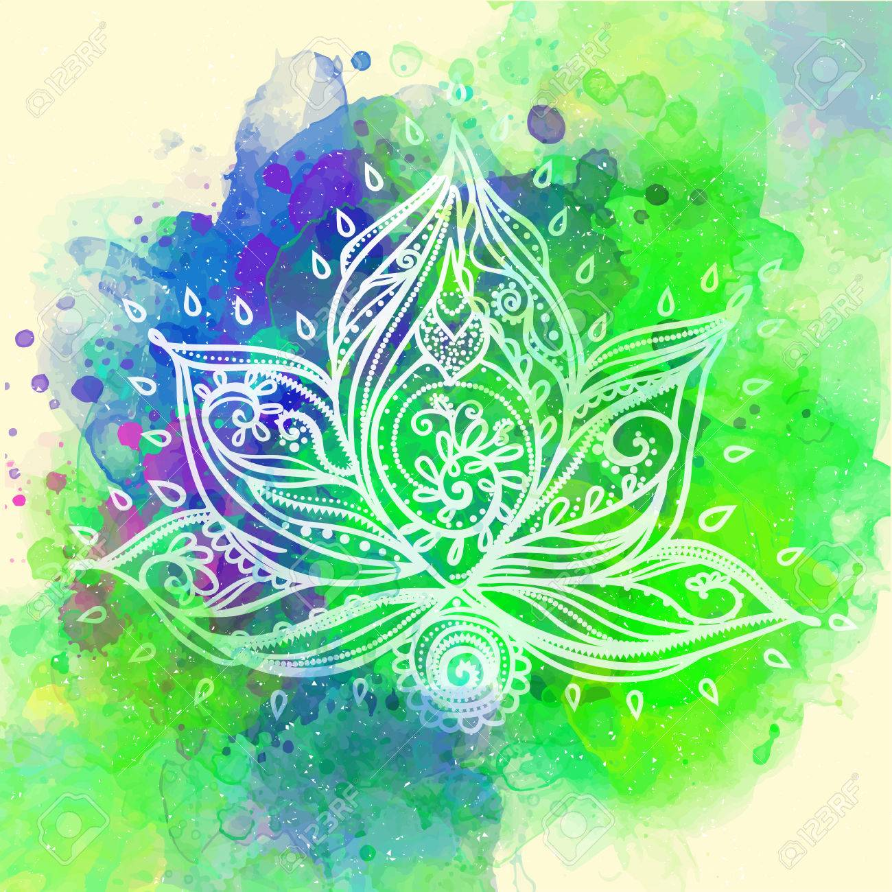 Ornamental Boho Style Lotus Flower Geometric Element Hand DrawnCards For The Design And