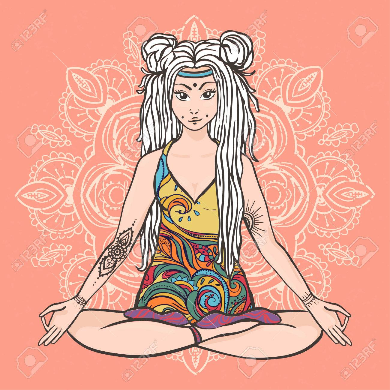 Hippie Girl With Dreadlocks Hippie Style Yoga Poses Love And Music With  Handwritten Fonts