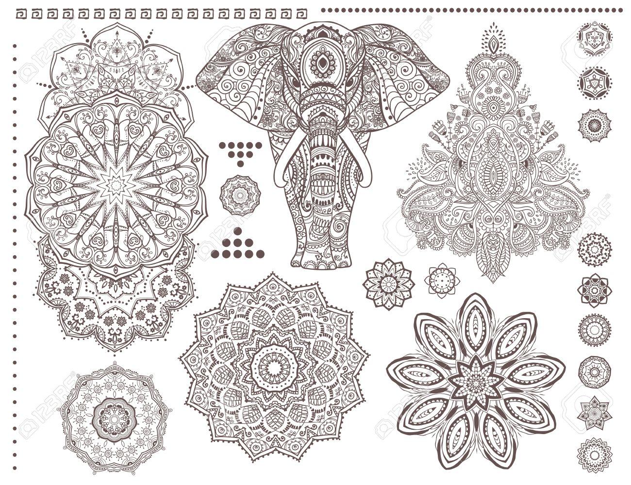 mandala set and other elements vector mandala tattoo ornament