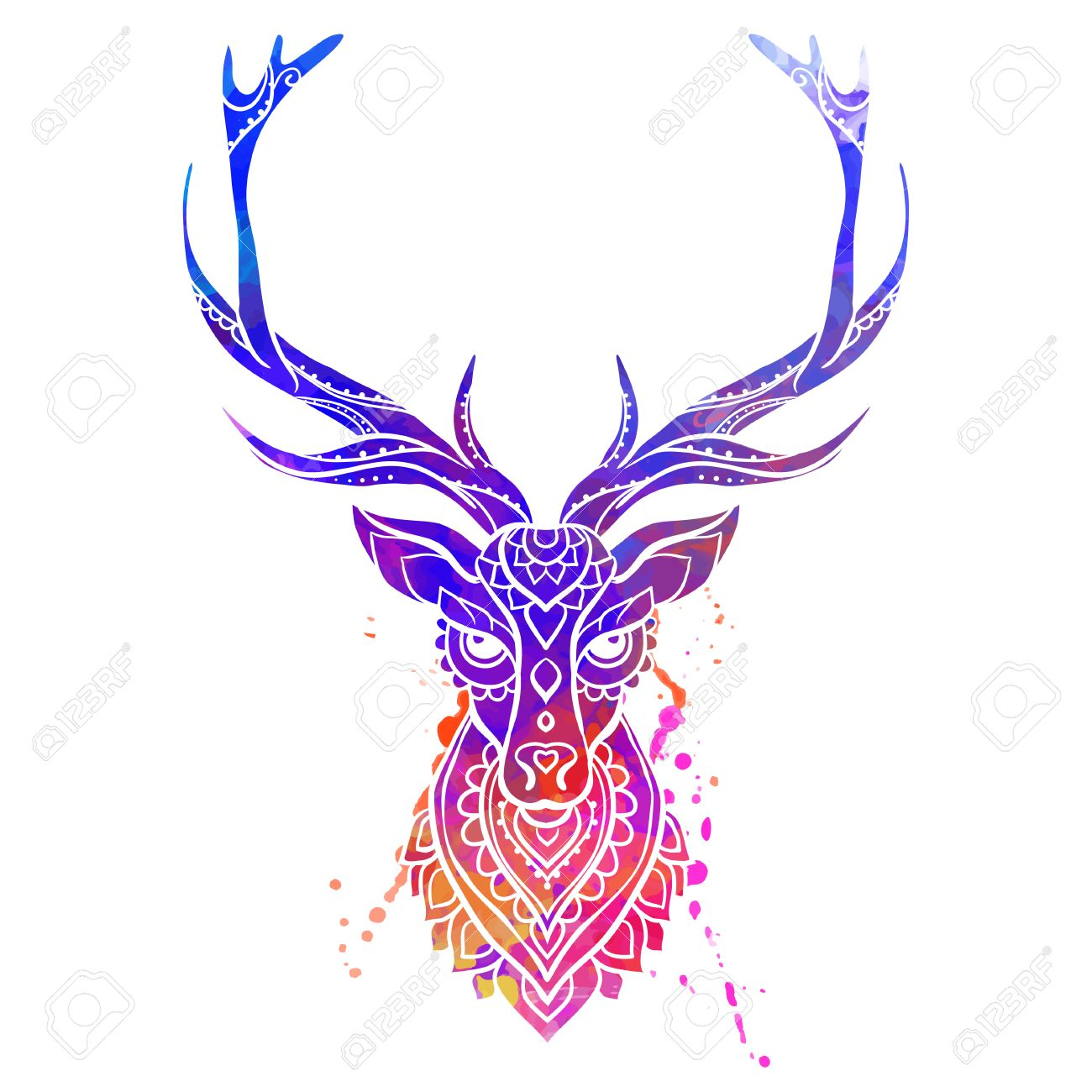 ornament deer vector beautiful illustration deer for design