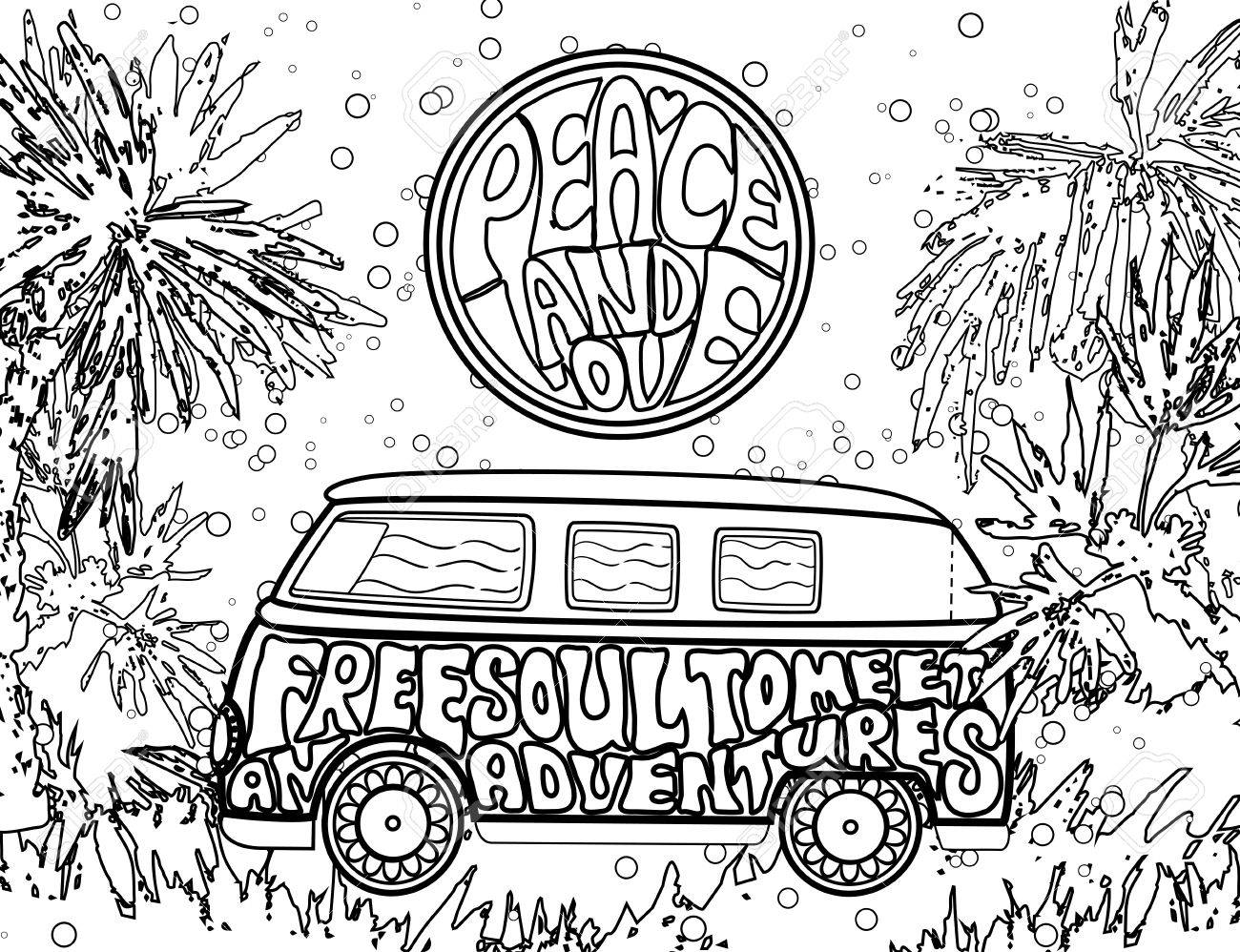 Hippie Vintage Car Ornamental Background Love And Music With Hand Written Fonts