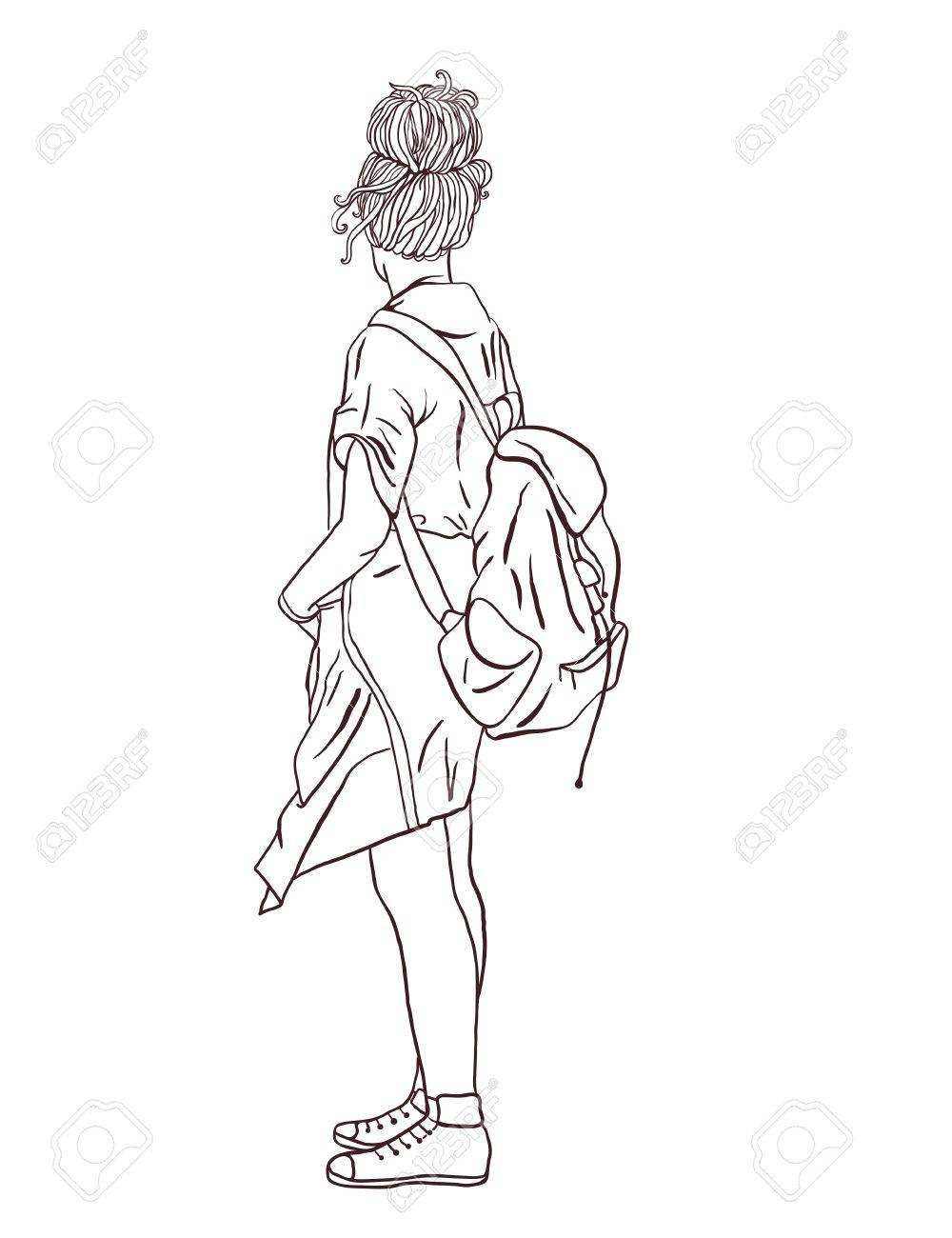 hippie girl with a backpack bohemian girl boho style illustration 1970s Attire hippie girl with a backpack bohemian girl boho style illustration for print