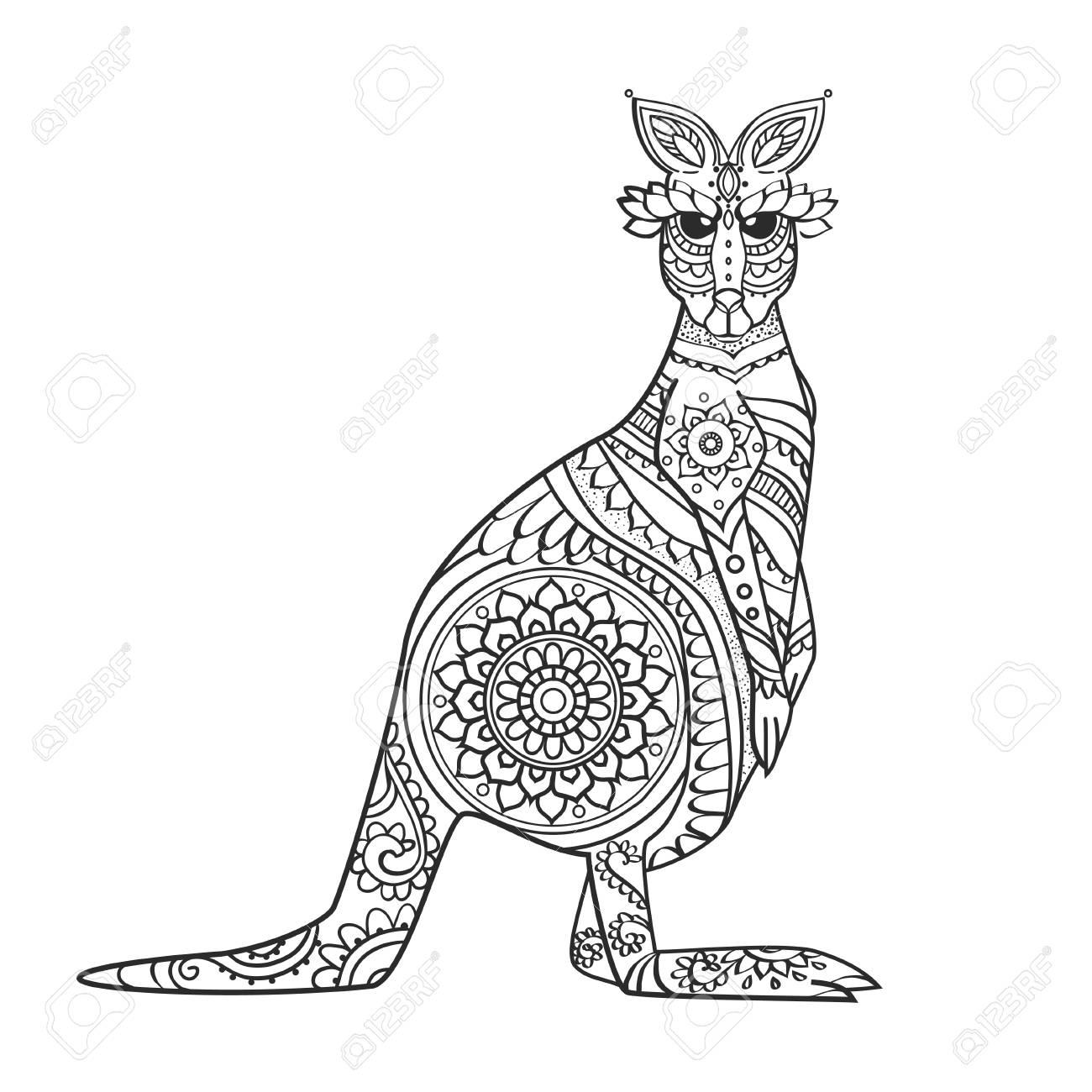 Coloriage Mandala Kangourou.Vecteur Kangourou Ornement Belle Illustration Kangourou Pour La