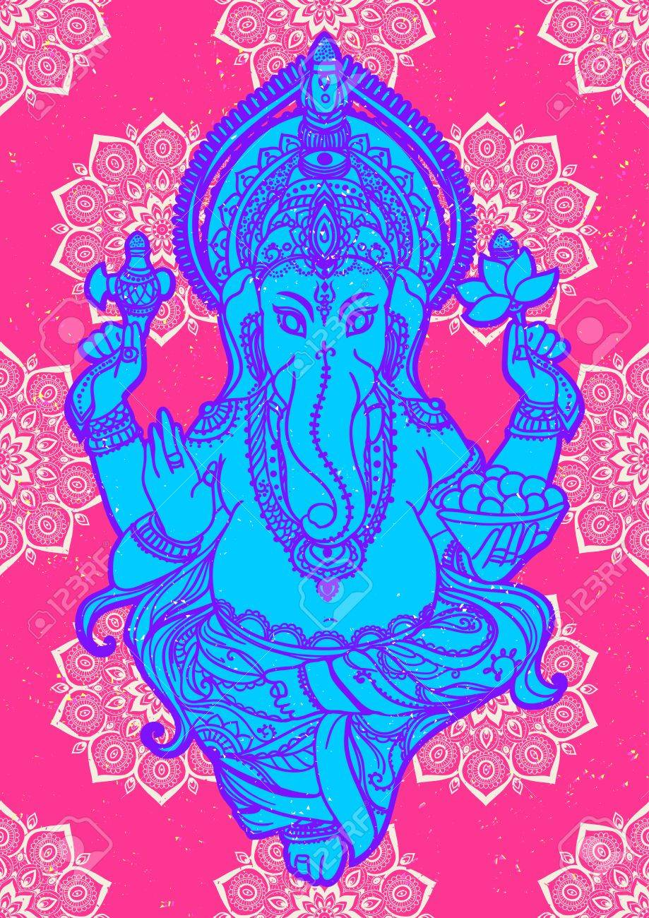Ornament beautiful pattern with lord ganesh image god with ornament beautiful pattern with lord ganesh image god with elephant head illustration of happy stopboris Gallery
