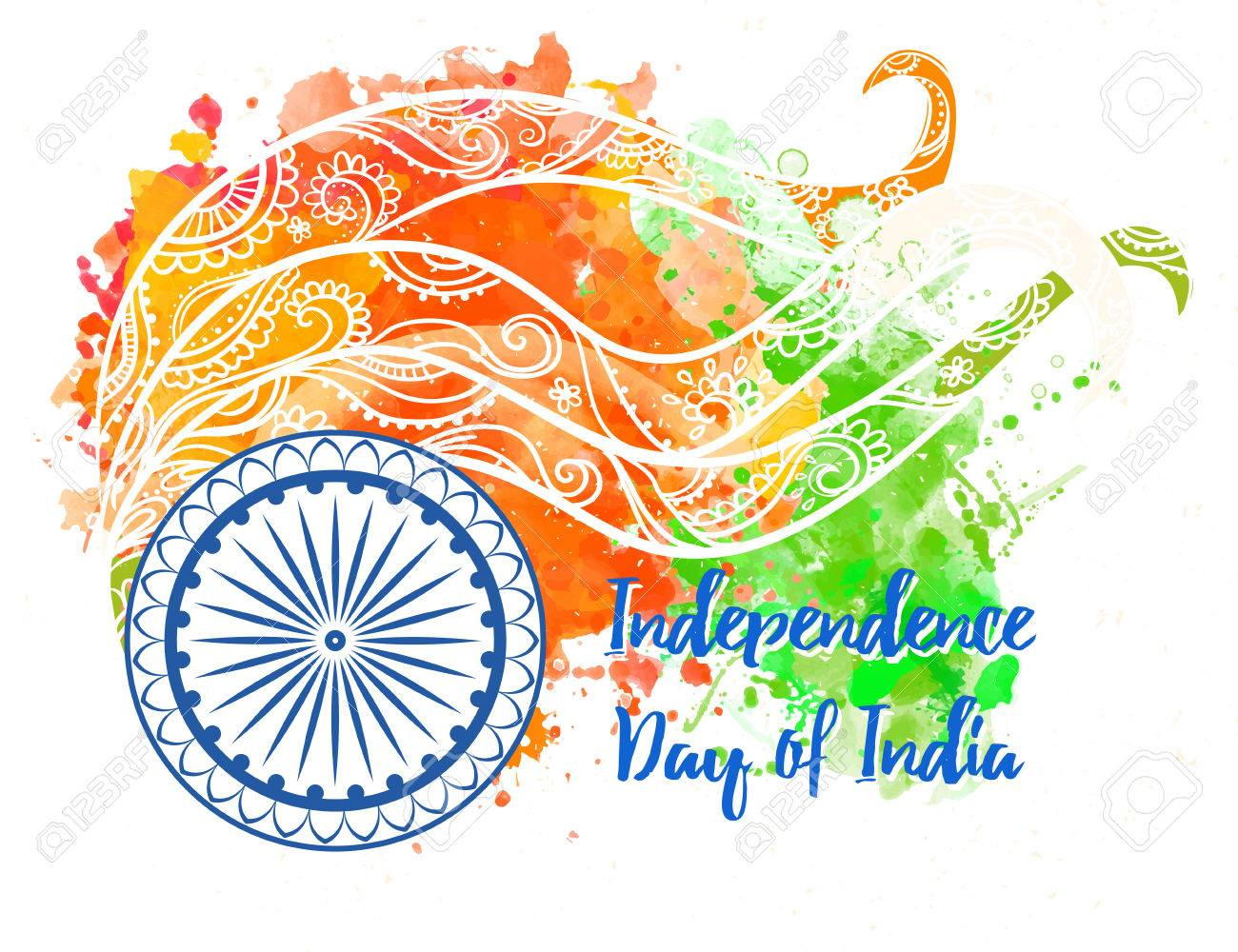 Ornametal Poster Independence Day Of India It Celebrated Annually On August 15 Invitation Card In Vector Kaleidoscope Medallion India Arabic