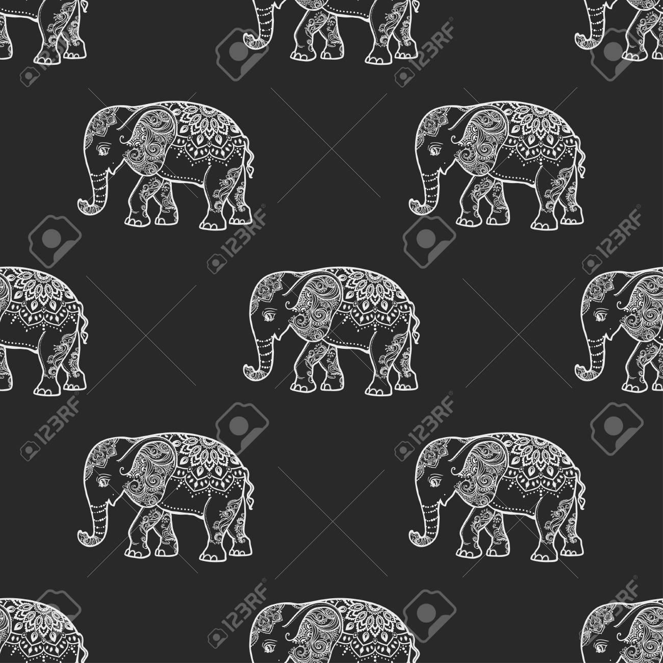 Karte Mit Elefant. Rahmen Aus Tieres In Vektor. Muster Illustration ...