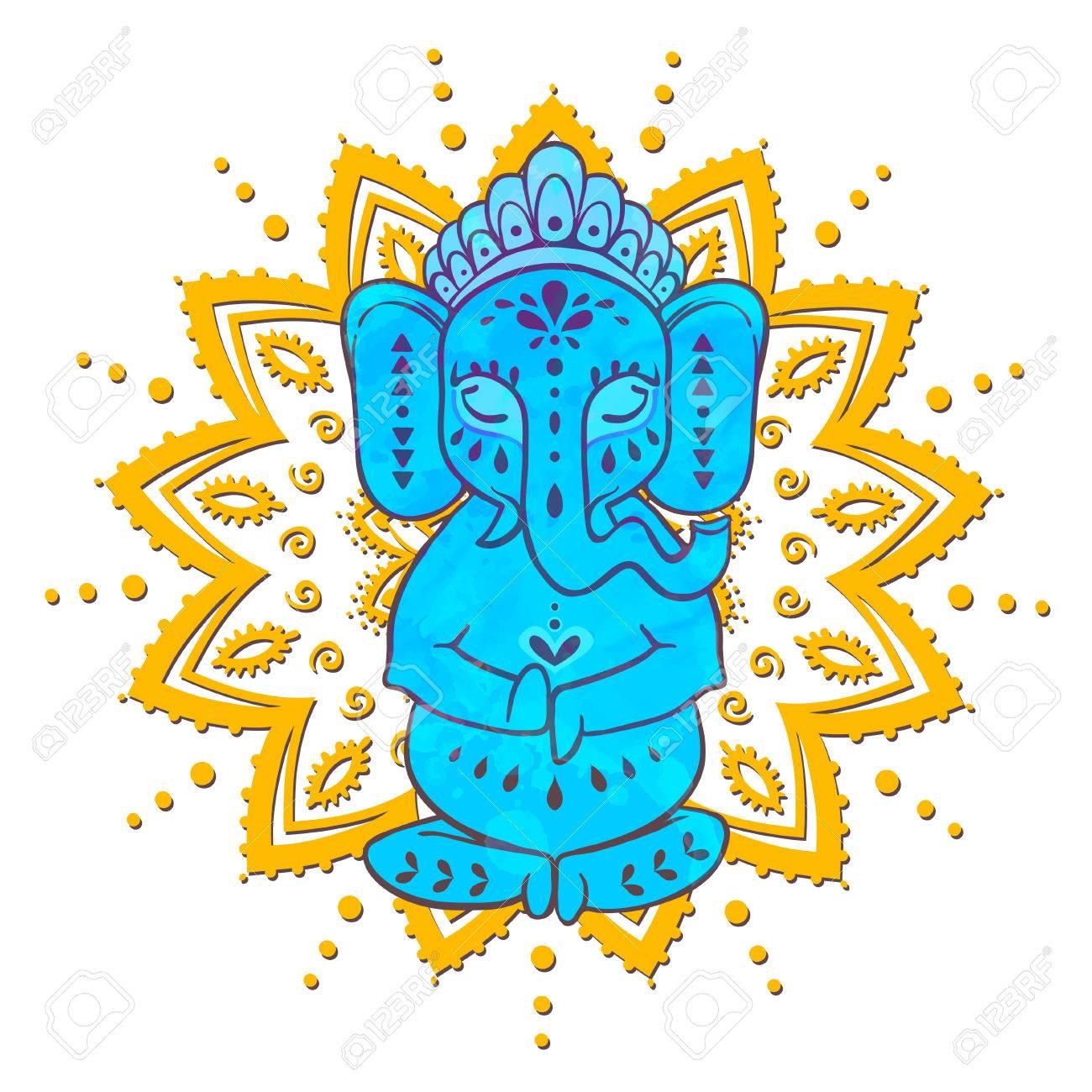 Tarjeta Con El Dios Elefante Ganesha Hindú. Ilustración Para El ...