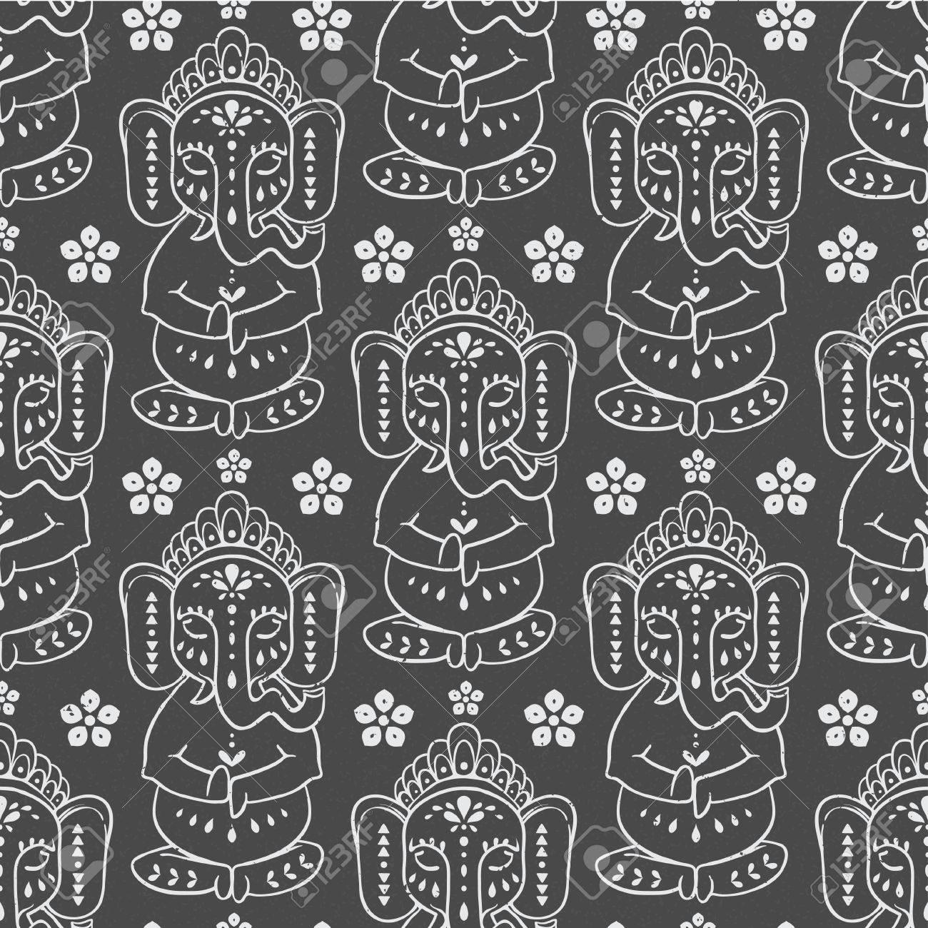 Patrón Con Dios Elefante Ganesha Hindú. Ilustración Para El Vestido ...