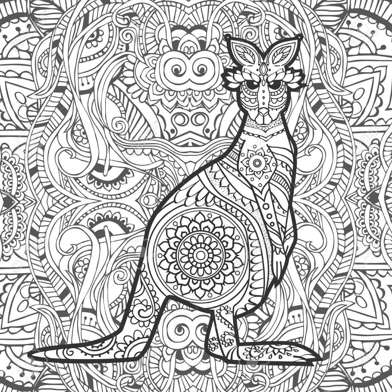 Coloriage Mandala Kangourou.Vecteur De Kangourou D Ornement Belle Illustration Kangourou Pour