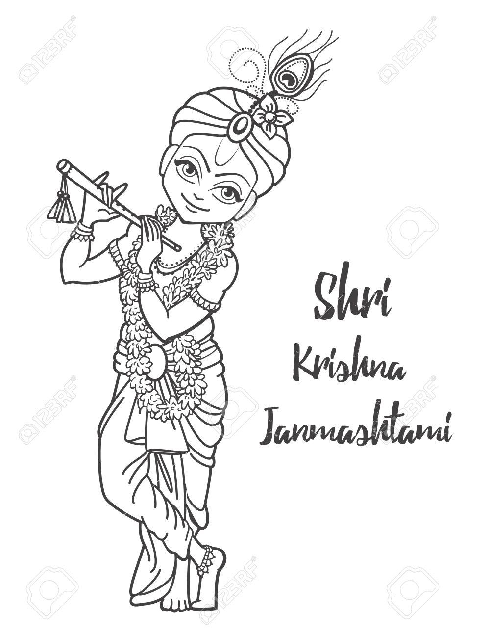 Ornament Card With Lord Shri Krishna Birthday Illustration In