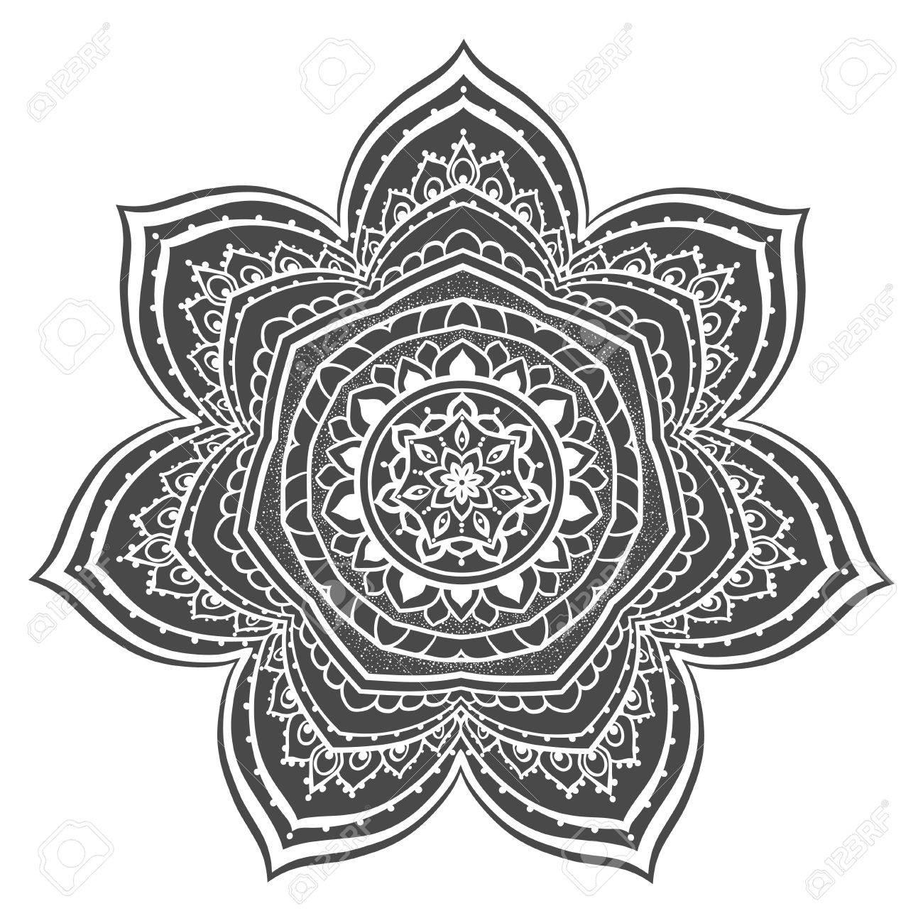 Ornament Color Card With Mandala. Geometric Circle Element Vector ...