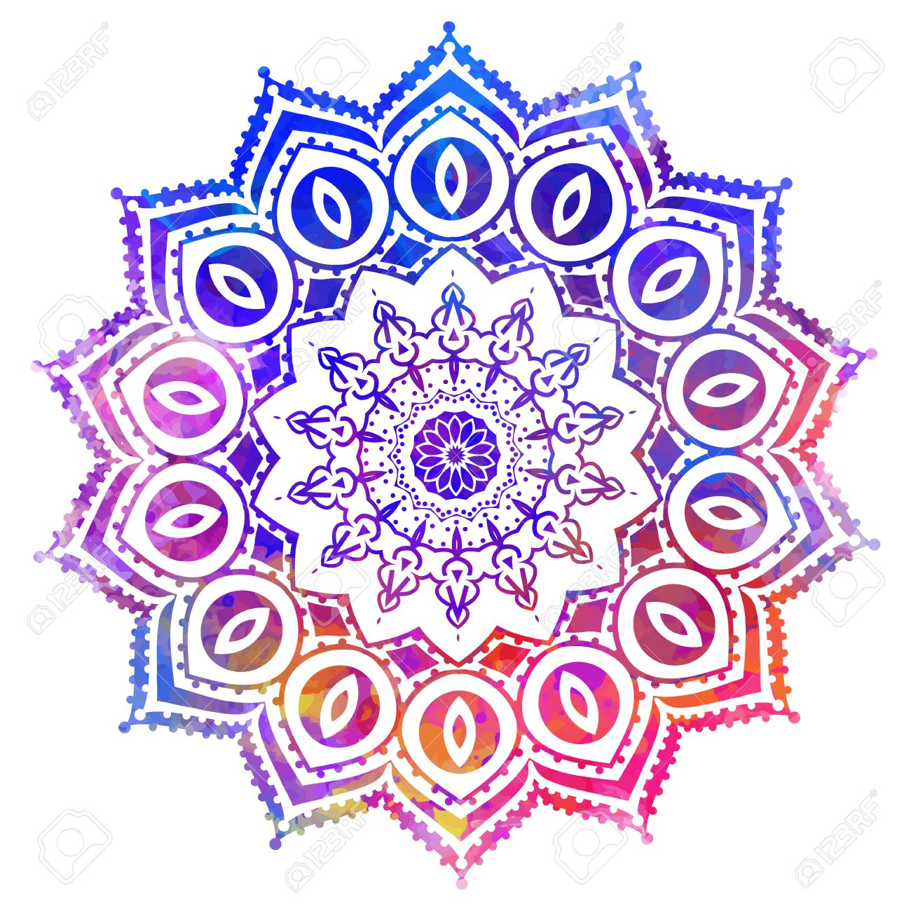 Watercolor color card with mandala. Geometric circle element..