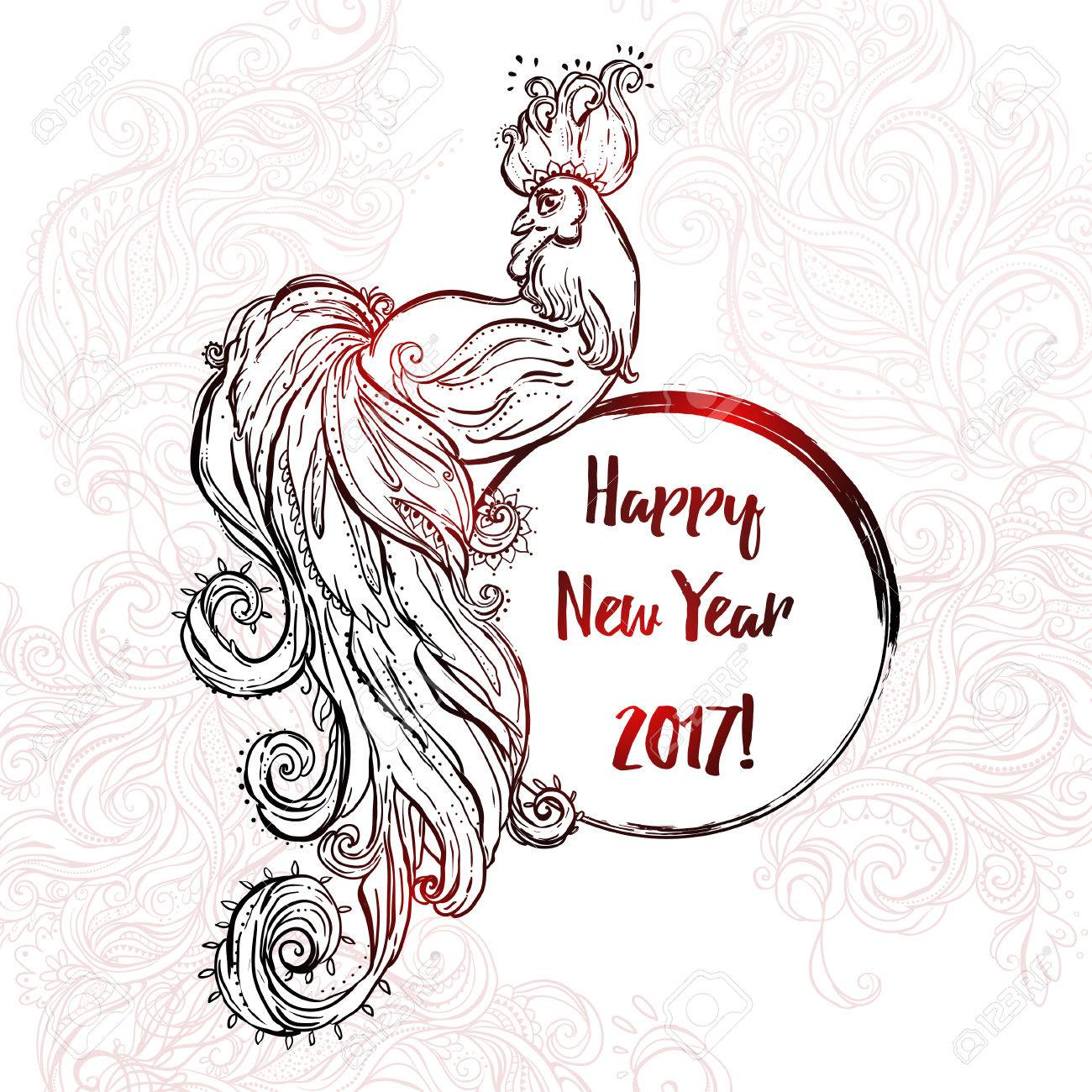 Chinese Happy New Year 2017 Beautiful Illustration Ornament Feather Coloring Book For Adults Cock Vector