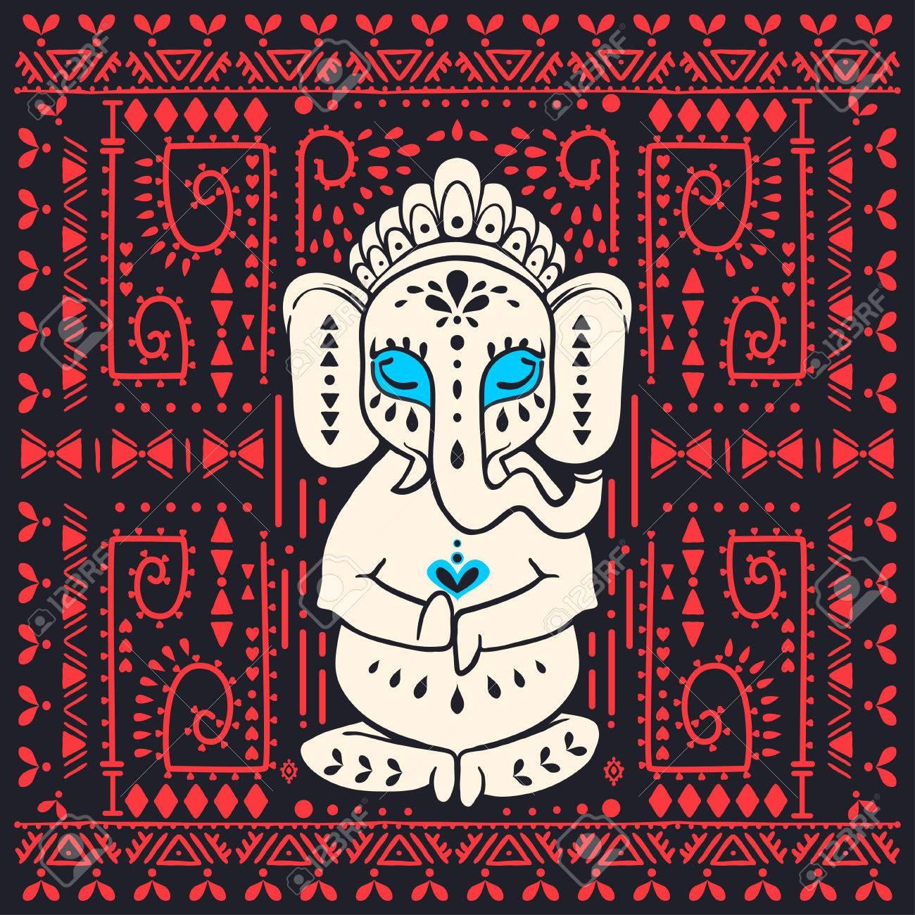 Tarjeta Con El Dios Elefante Ganesha Hindú. Fondo Del Ornamento ...