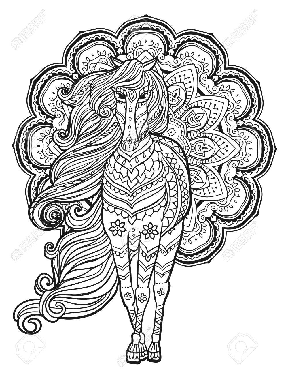 Ornament Horse Vector Beautiful Illustration For Design Print Clothing Stickers Tattoos